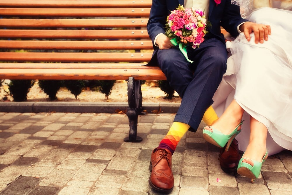 Vintage bride and groom with coloured shoes and socks