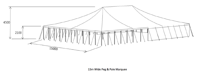 diagram of 15 metre wide peg and pole marquee for hire