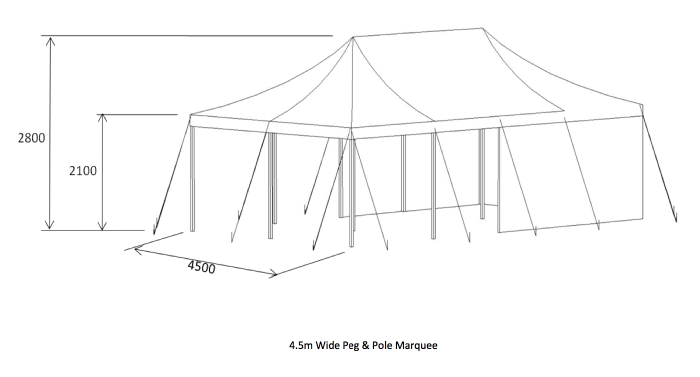 diagram of marquee 4.5m peg and pole