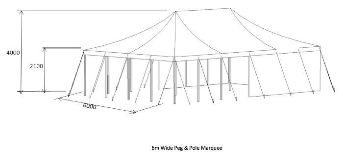peg and pole marquee diagram 6 metres