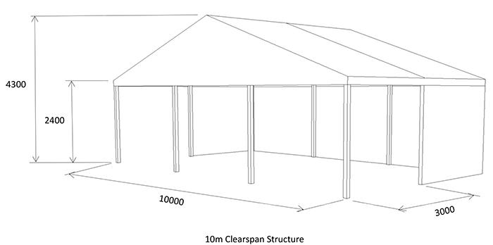 10m open marquee diagram