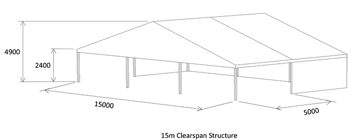 15m partially open covered marquee diagram