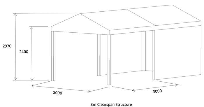 3m clearspan marquee diagram