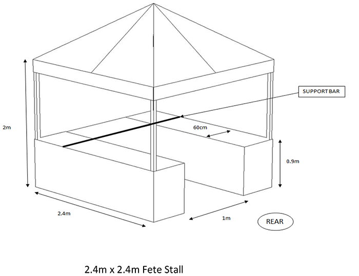 diagram of small fete stand with benches